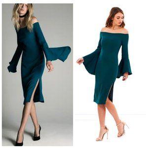 REVOLVE BARDOT Emerald Green Bell Sleeve Dress